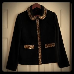 BODEN wool snap front jacket w/shell button detail